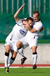 Adnan Besic of Olimpija  and Enes Rujovic of Olimpija celebrate after first goal during the football match between NK Triglav Gorenjska and NK Olimpija, played in the 9th Round of Prva liga football league 2010 - 2011, on September 19, 2010, Mestni stadion, Kranj, Slovenia. Olimpija defeated Triglav 5 - 0. (Photo by Vid Ponikvar / Sportida)