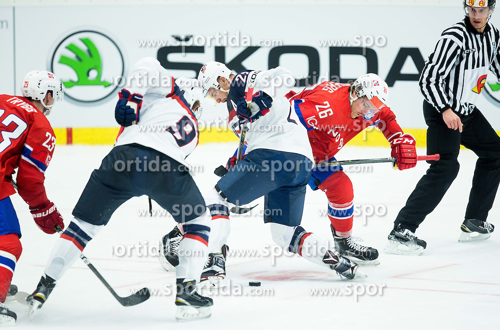 Jack Eichel of USA and Trevor Lewis of USA vs Mats Trygg of Norway and Kristian Forsberg of Norway during Ice Hockey match between Norway and USA at Day 2 in Group B of 2015 IIHF World Championship, on May 2, 2015 in CEZ Arena, Ostrava, Czech Republic. Photo by Vid Ponikvar / Sportida