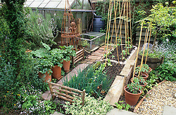 Small vegetable and herb area with greenhouse, 'beehive' compost bins, cloches, water butt and container grown tomatoes.