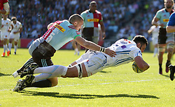 Exeter Chiefs' Dave Dennis scores their second try during the Aviva Premiership match at Twickenham Stoop, London.