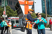 Representatives from both AC Transit and Muni were on hand to help customers find where to go. A Bart strike caused chaos for commuters coming in and out of San Francisco. AC Transit and San Francisco Bay Ferry managed the trans bay commutes, while Muni handled the dissplaced commuters within San Francisco. | July 2, 2013