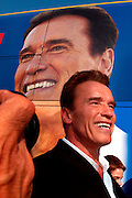 "Bakersfield, CA, USA, Oct. 3rd 2003: Arnold Schwarzenegger outside his "" Total Recall"" Campaign bus during his ""California Comeback Express"" tour throughout California in his campaign to perusade the californians to vote for recall of Gray Davis and elect the actor as the new Governor of California. Photo: Orjan F. Ellingvag/ Dagbladet/ Corbis"