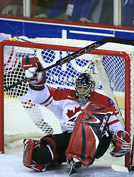 Goalkeeper Pascal Leclaire at ice-hockey game Canada vs Finland at Qualifying round Group F of IIHF WC 2008 in Halifax, on May 12, 2008 in Metro Center, Halifax, Nova Scotia, Canada. Canada won 6:3. (Photo by Vid Ponikvar / Sportal Images)