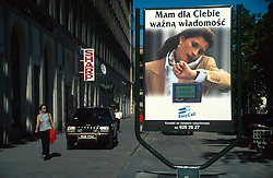 POLAND WARSAW AUG96 - Advertisement for Pagers and modern telecommunications in Warsaw's Old Town.<br />