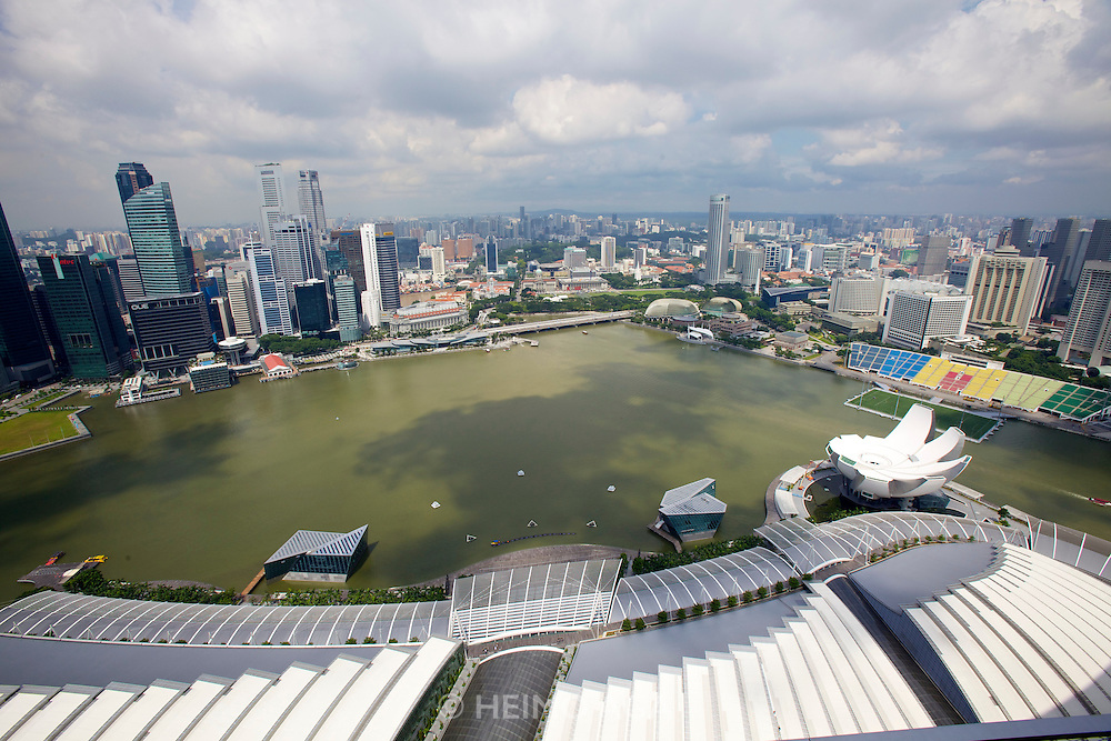 Singapore. Marina Bay Sands. View over Marina Bay and downtown.