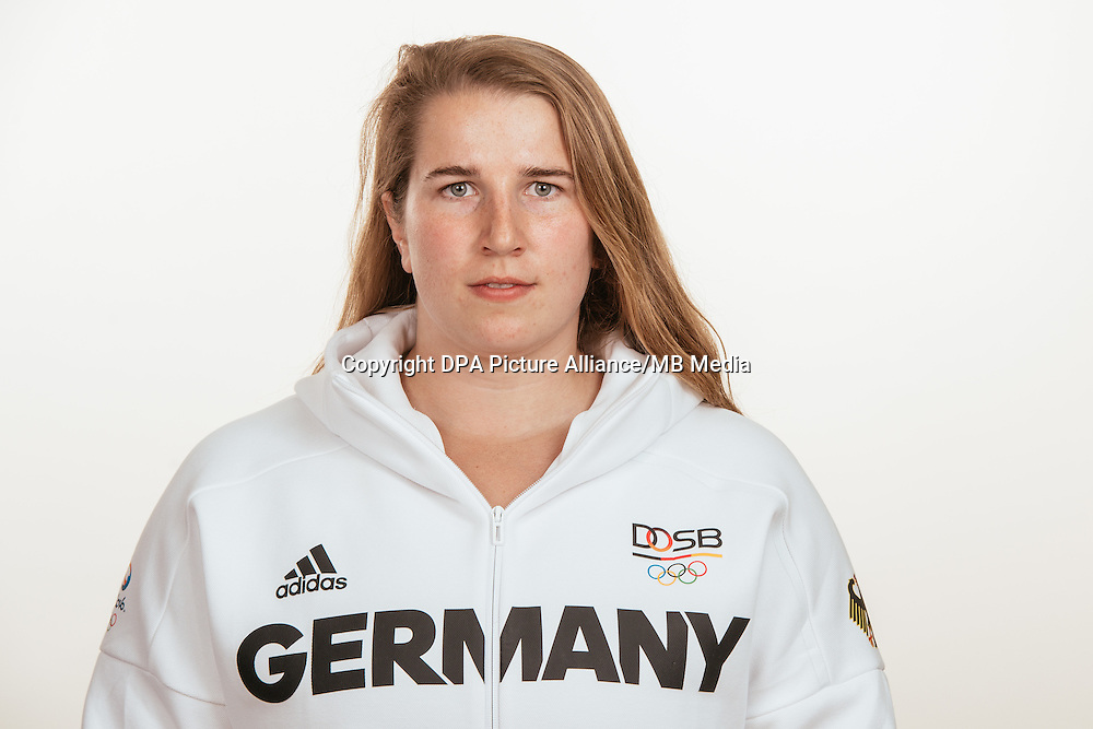 Lena Urbaniak poses at a photocall during the preparations for the Olympic Games in Rio at the Emmich Cambrai Barracks in Hanover, Germany, taken on 21/07/16 | usage worldwide