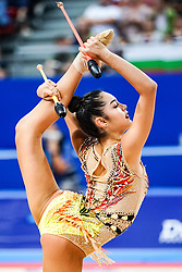 September 14, 2018 - Sofia, Bulgaria - Alexandra Agiurgiuculese of Italy   during  Individual All-Around Final at the Arena Armeec in Sofia at the 36th FIG Rhythmic Gymnastics World Championships  on 14/9/2018. (Credit Image: © Ulrik Pedersen/NurPhoto/ZUMA Press)