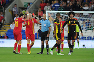 James Collins of Wales (5)  is sent off after a bad tackle on Belgium's Guillaume Gillet. World cup 2014 qualifying match, Group A, Wales v Belgium at the Cardiff city stadium in Cardiff, South Wales on Friday 7th Sept 2012.  pic by  Andrew Orchard, Andrew Orchard sports photography,