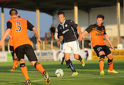 Dundee's Dylan Carreiro dances between Dundee United's Calum Butcher and Scott Smith - Dundee v Dundee United, SPFL Development League at Gayfield, Arbroath<br /> <br />  - &copy; David Young - www.davidyoungphoto.co.uk - email: davidyoungphoto@gmail.com