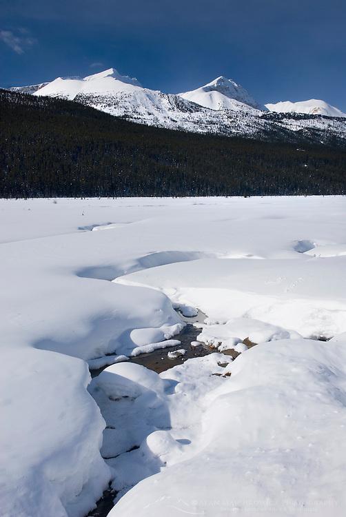 Sunwapta River in winter, Jasper National Park Alberta Canada