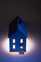 Illuminated model of house