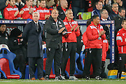 Crystal Palace Manager Alan Pardew  in a minutes silence for Paris  during the Barclays Premier League match between Crystal Palace and Sunderland at Selhurst Park, London, England on 23 November 2015. Photo by Simon Davies.