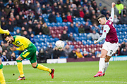 Burnley defender Matthew Lowton (2) has a shot at goal  during the The FA Cup match between Burnley and Norwich City at Turf Moor, Burnley, England on 25 January 2020.
