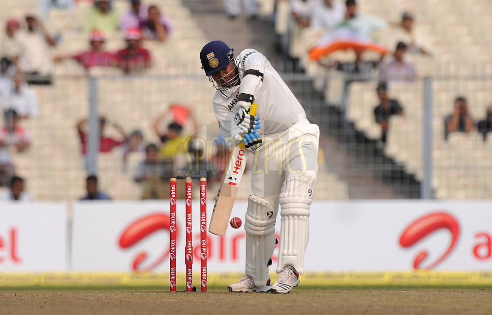 Virender Sehwag of India bats during the 1st day of the 2nd test match between India and The West Indies held at  the The Eden Gardens Stadium,Kolkata on the 14th November 2011..Photo by Pal Pillai/BCCI/SPORTZPICS