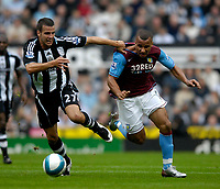 Photo: Jed Wee/Sportsbeat Images.<br /> Newcastle United v Aston Villa. The FA Barclays Premiership. 18/08/2007.<br /> <br /> Newcastle's Steven Taylor (L), who is called up to the senior England squad for the first time for the friendly against Germany next week, tries to keep Aston Villa's Gabriel Agbonlahor in check.