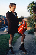 Alvin Evans in School Uniform, Hawthorne Rd, High Wycombe, UK, 1980s.