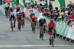 © Licensed to London News Pictures. 14/06/2019. Llanelwedd, Powys, Wales, UK. The remaining peloton arrives after Lizzie Deignan wins today's stage of the OVO Energy Womens Tour race which finishes at the Royal Welsh Showground in Llanelwedd, Powys, UK. Photo credit: Graham M. Lawrence/LNP