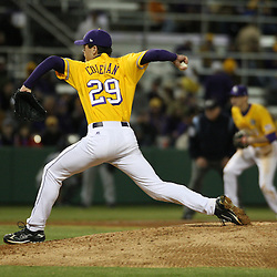 2009 February 20: LSU pitcher Louis Coleman (29) throws during a NCAA baseball match up between the #1 ranked LSU Tiger and the unranked Villanova Wilcats at the newly constructed Alex Box Stadium in Baton Rouge, Louisiana..