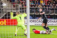 ALKMAAR - 02-02-2016, AZ - HHC, AFAS Stadion, AZ speler Vincent Janssen (m) scoort hier de 1-0 doelpunt, HHC keeper Sander Danes.