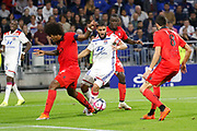 Fekir Nabil of Lyon and Costa Santos Dante of Nice and Lees-Melou Pierre of Nice during the French championship L1 football match between Olympique Lyonnais and Amiens on August 12th, 2018 at Groupama stadium in Decines Charpieu near Lyon, France - Photo Romain Biard / Isports / ProSportsImages / DPPI