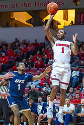 NORMAL, IL - November 29: Dedric Boyd lifts a one hander after passing by Keymonta Johnson during a college basketball game between the ISU Redbirds and the Prairie Stars of University of Illinois Springfield (UIS) on November 29 2019 at Redbird Arena in Normal, IL. (Photo by Alan Look)
