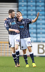 Millwall's Ryan Fredericks celebrates scoring his sides first goal with Millwall's Scott Malone - Photo mandatory by-line: Robin White/JMP - Tel: Mobile: 07966 386802 18/01/2014 - SPORT - FOOTBALL - The Den - Millwall - Millwall v Ipswich Town - Sky Bet Championship