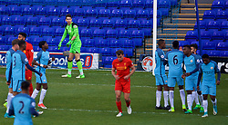 BIRKENHEAD, ENGLAND - Monday, April 24, 2017: Liverpool's goalkeeper Kamil Grabara looks dejected as Manchester City's Paulo Fernandes scores the first goal from a penalty kick during the Under-23 FA Premier League 2 Division 1 match at Prenton Park. (Pic by David Rawcliffe/Propaganda)