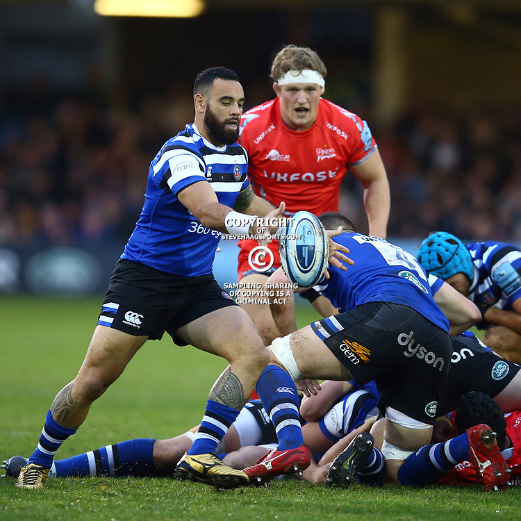 Kahn Fotuali'i of Bath Rugby during the Gallagher Premiership match between Bath Rugby and Sale Sharks at the The Recreation Ground Bath England.2nd December 2018,(Photo by Steve Haag Sports)
