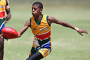 POTCHEFSTROOM, SOUTH AFRICA - JANUARY 28, Banini Sekori(NW Dockers) of the SA Lions during the AFL Game 1 match between the Flying Boomerangs and South African Lions under 18's at Mohadin Cricket Ground on January 28, 2013 in Potchefstroom, South Africa.Photo by Roger Sedres / Image SA