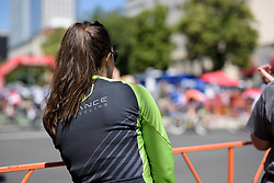 Dani King watches the men's race roll out of Sacramento at Amgen Breakaway from Heart Disease Women's Race empowered with SRAM (Tour of California) - Stage 4. A 20 lap criterium in Sacramento, USA on 14th May 2017.
