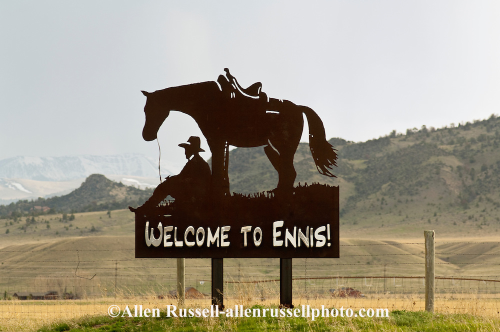 Ennis, Montana, sign at entrance to town