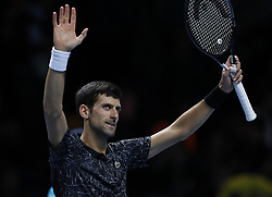 2018?11?14?.       ?????1???——ATP???????????????????.      11?14????????????? .      ???????????2018ATP????????????????????????????2?0???????????.       ????????.(SP)BRITAIN-LONDON-TENNIS-ATP WORLD TOUR FINALS-DAY 4 .(181114) -- LONDON, Nov. 14, 2018  Novak Djokovic of Serbia celebrates after the singles match against Alexander Zverev of Germany during Day 4 of the 2018 ATP World Tour Finals at the O2 Arena in London, Britain on Nov. 14, 2018. (Credit Image: © Xinhua via ZUMA Wire)