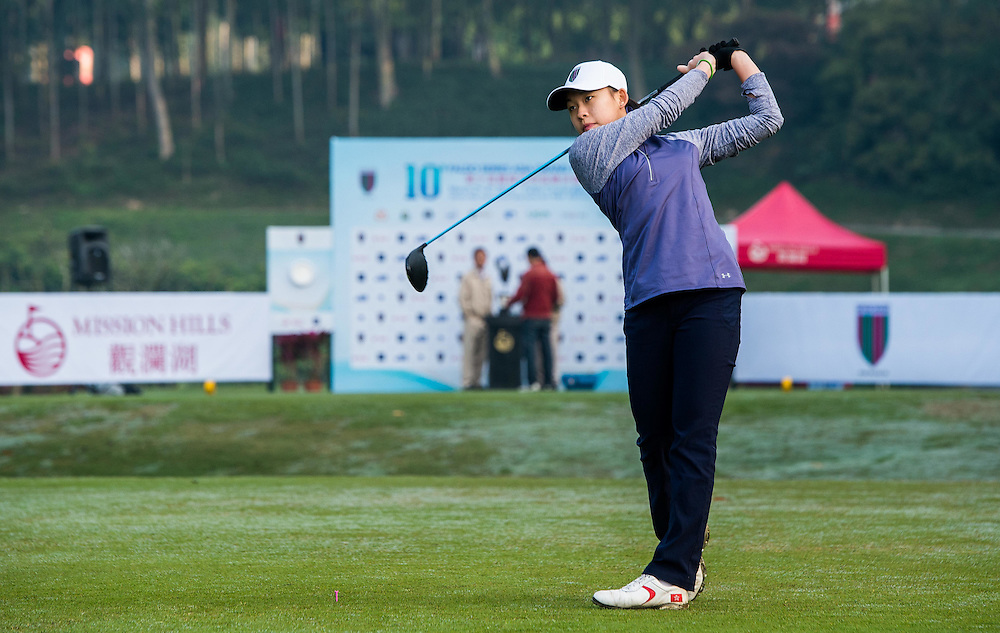 Virginie Ding of Hong Kong in action during day one of the 10th Faldo Series Asia Grand Final at Faldo course in Shenzhen, China. Photo by Xaume Olleros.