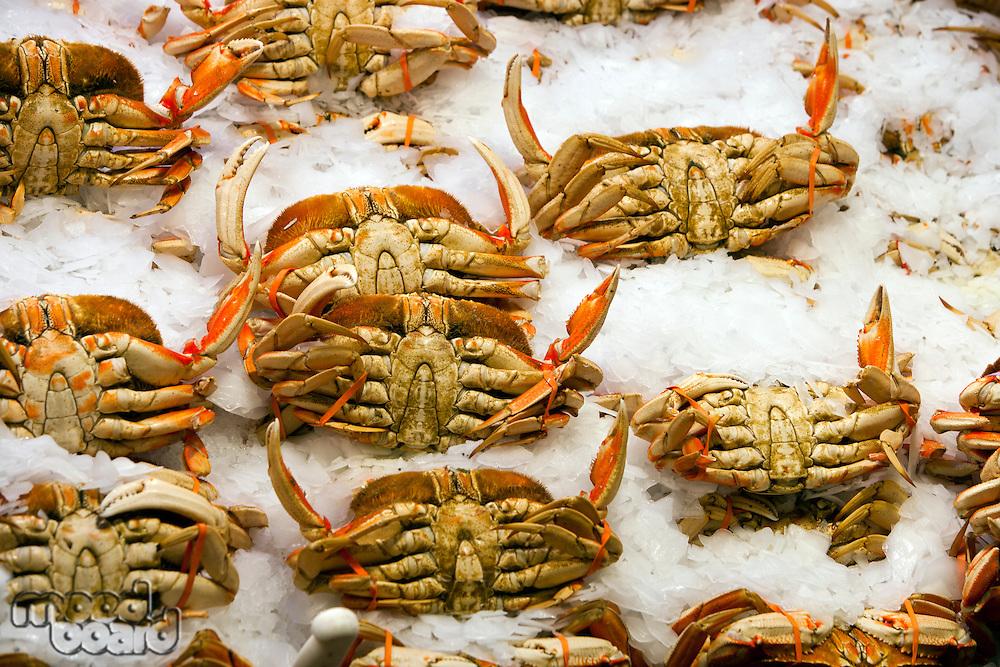 Crabs on display at fish market