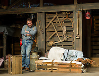 "Whit (Jim Rogato) and Candy (Ray Dudley) during dress rehearsal for ""Of Mice and Men"" at the Winnipesaukee Playhouse Tuesday evening.  (Karen Bobotas/for the Laconia Daily Sun)"