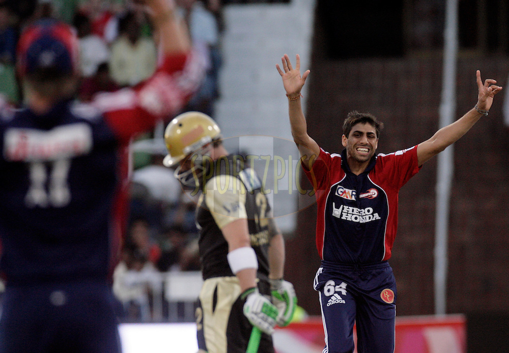 DURBAN, SOUTH AFRICA - 5 May 2009. Ashish Nehra appeals during the IPL Season 2 match between the Delhi daredevils and The Kolkata Knight Riders held at Sahara Stadium Kingsmead, Durban, South Africa....