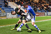 Forest Green Rovers Forward Christian Doidge (9) and Forest Green Rovers Forward George Williams (11) battle for the ball during the EFL Sky Bet League 2 match between Colchester United and Forest Green Rovers at the JobServe Community Stadium, Colchester, England on 12 March 2019.