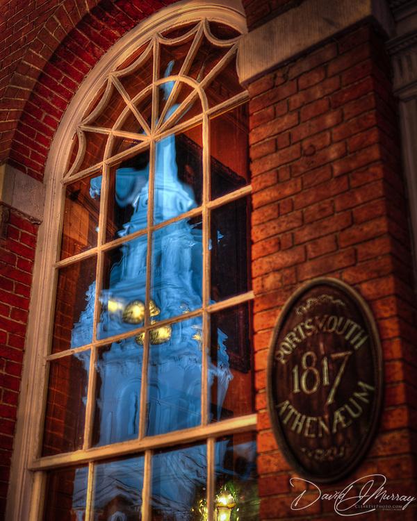 North Church Steeple reflects in Athenaeum windows