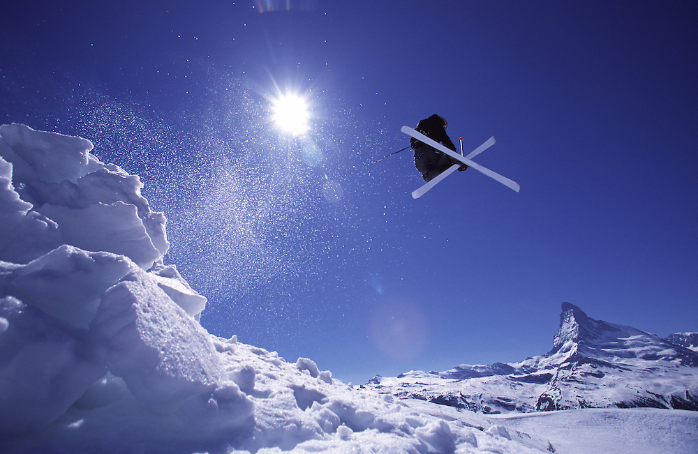 Skier Jumping in front of Matterhorn, Zermatt, Switzerland