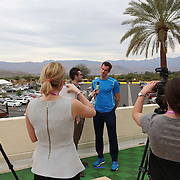 Andy Murray is interviewed during the ATP All-Access Hour at the Indian Wells Tennis Garden in Indian Wells, California Tuesday, March 11, 2015.<br /> (Photo by Billie Weiss/BNP Paribas Open)
