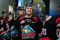 KELOWNA, CANADA - OCTOBER 23:  Mark Liwiski #9 of the Kelowna Rockets is all smiles on his way to the dressing room after the win against the Swift Current Broncos on October 23, 2018 at Prospera Place in Kelowna, British Columbia, Canada.  (Photo by Marissa Baecker/Shoot the Breeze)