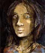 a portrait of a woman in a dark smooth light