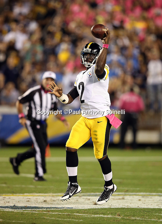 Pittsburgh Steelers quarterback Mike Vick (2) throws a second quarter pass during the 2015 NFL week 5 regular season football game against the San Diego Chargers on Monday, Oct. 12, 2015 in San Diego. The Steelers won the game 24-20. (©Paul Anthony Spinelli)