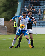 16th September 2017, Dens Park, Dundee, Scotland; Scottish Premier League football, Dundee versus St Johnstone; St Johnstone's Michael O'Halloran and Dundee's Cammy Kerr
