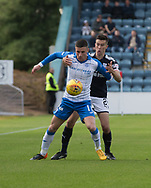 16th September 2017, Dens Park, Dundee, Scotland; Scottish Premier League football, Dundee versus St Johnstone; St Johnstone's Michael O'Halloran and Dundee's Cammy Kerr