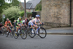 Katie Hall (USA) of UnitedHealthcare Cycling Team leads the breakaway, which reaches the midway point of the Bank Street QOM climb during the Aviva Women's Tour 2016 - Stage 3. A 109.6 km road race from Ashbourne to Chesterfield, UK on June 17th 2016.