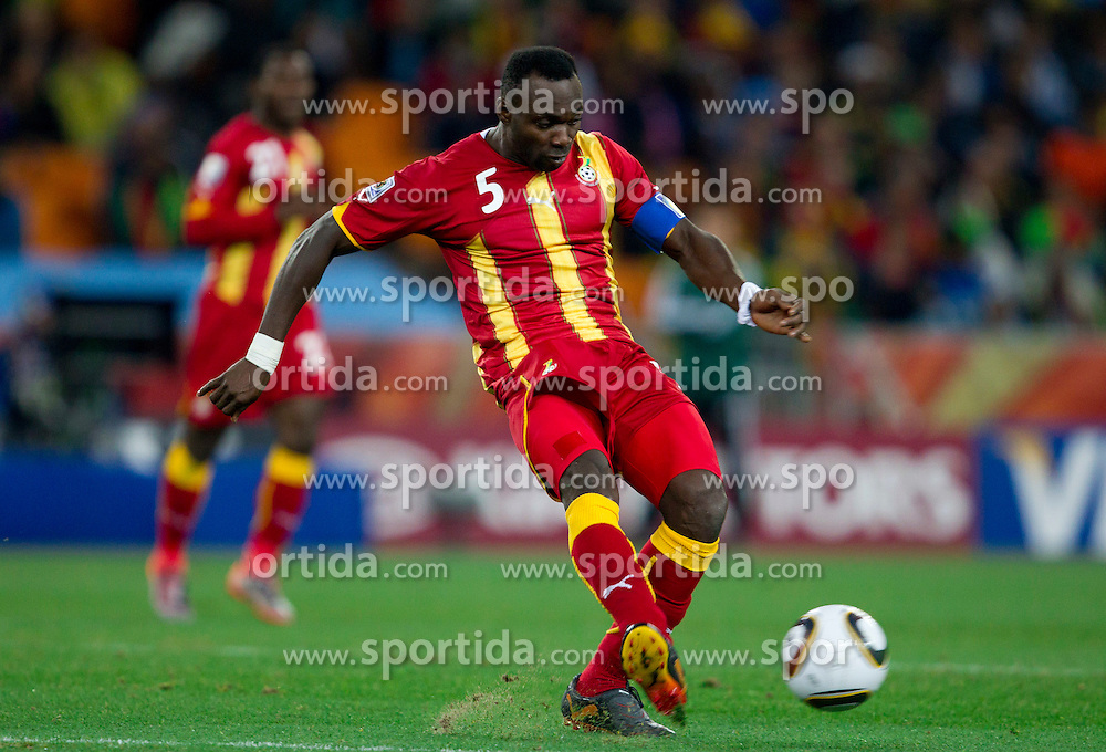 John Mensah of Ghana during the  2010 FIFA World Cup South Africa Quarter Finals football match between Uruguay and Ghana on July 02, 2010 at Soccer City Stadium in Sowetto, suburb of Johannesburg. Uruguay defeated Ghana after penalty shots. (Photo by Vid Ponikvar / Sportida)