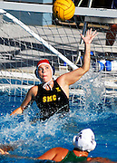 Audrey Berry from Santa Monica College elevates to block a shot from Cuesta College at a game held at Santa Monica College, Santa Monica, CA. on Sep. 27, 2007. Photo by Pablo Robles.