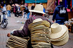 A hat seller in the medina in Marrakech, Morocco, North Africa<br /> <br /> (c) Andrew Wilson | Edinburgh Elite media