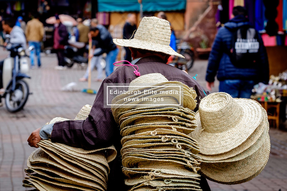 A hat seller in the medina in Marrakech, Morocco, North Africa<br /> <br /> (c) Andrew Wilson | Edinburgh Elite media